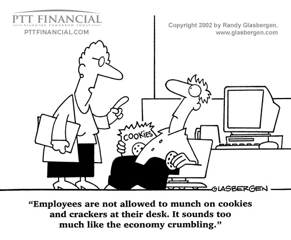 PTT Financial Cartoon of the Week: Employees are Not Allowed to Munch on Cookies and Crackers at their Desk